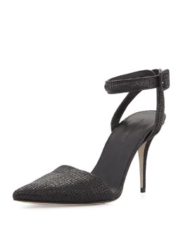 Alexander Wang Lovisa Textured Ankle-Wrap Pump, Black