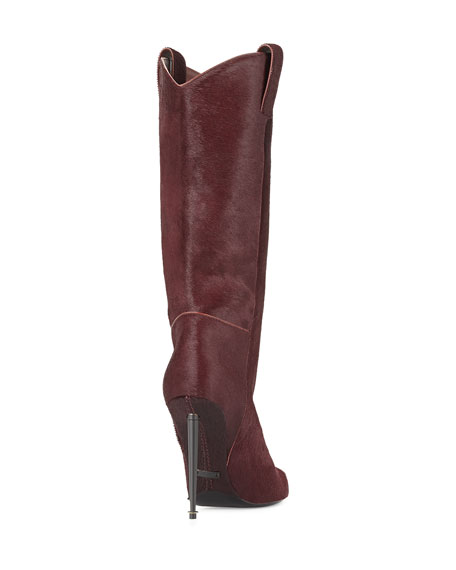 Calf Hair Mid-Calf Western-Cut Stiletto Boot, Wine/Gunmetal