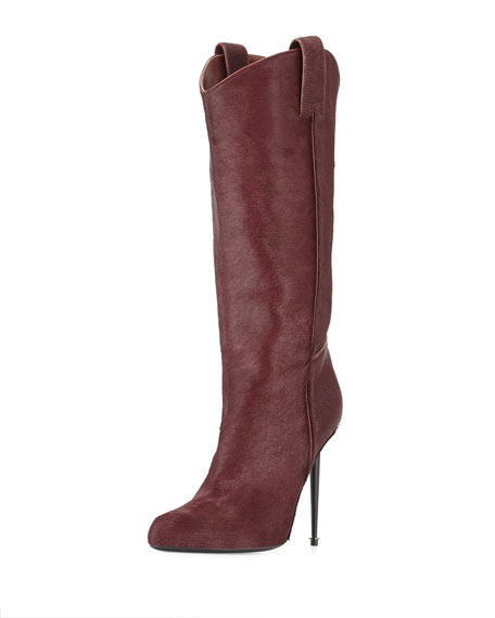 Calf Hair Mid-Calf Western-Cut Stiletto Boot, Wine/Gunmetal