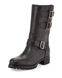 Prada Linea Rossa Short Triple-Buckle Moto Boot