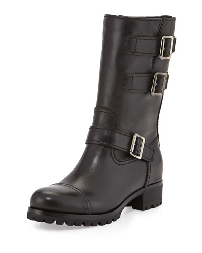 Short Triple-Buckle Moto Boot