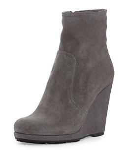 Prada Linea Rossa Suede Wedge Ankle Boot, Ghiaia