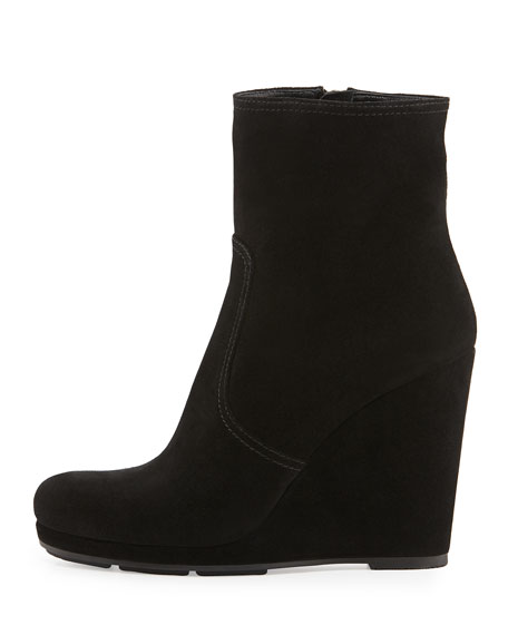 29ad884d1ec Suede Wedge Ankle Boot Nero