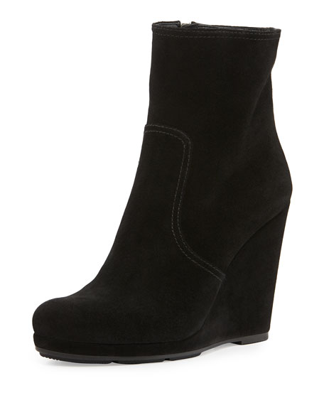 936d97fa Suede Wedge Ankle Boot Nero