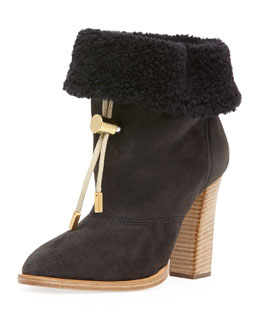 Chloe Suede Bolo-Tie Fur-Cuff Ankle Boot, Charcoal Gray