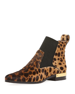 Chloe Leopard-Print Calf Hair Ankle Boot