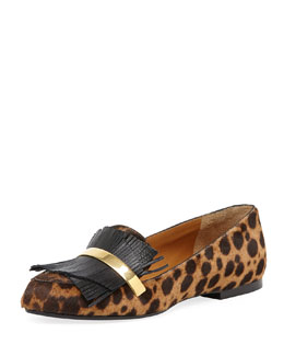 Chloe Leopard-Print Calf Hair Fringe Loafer