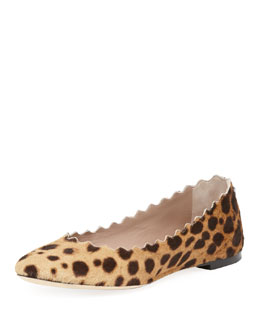 Chloe Scalloped Calf Hair Ballerina Flat, Leopard