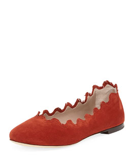 Chloe Scalloped Fringe Suede Ballerina Flat, Poppy Red