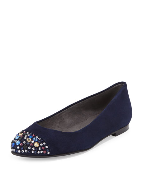 Bubbly Crystal-Toe Suede Flat, Nice Blue