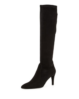 Stuart Weitzman Coolboot Pointed-Toe Suede Boot, Black