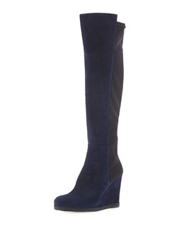Stuart Weitzman Demiswoon Suede/Stretch Wedge Boot, Nice Blue/Black