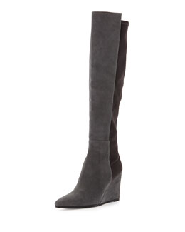 Stuart Weitzman Demivoom Suede/Stretch Wedge Boot, Smoke/Black