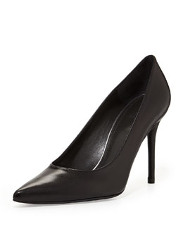 Stuart Weitzman Flirt Leather Point-Toe Pump, Black