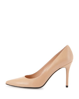 Stuart Weitzman Flirt Leather Point-Toe Pump, Adobe