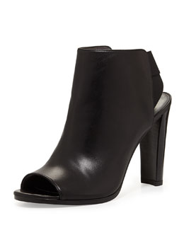 Stuart Weitzman Hereitis Peep-Toe Leather Bootie, Black