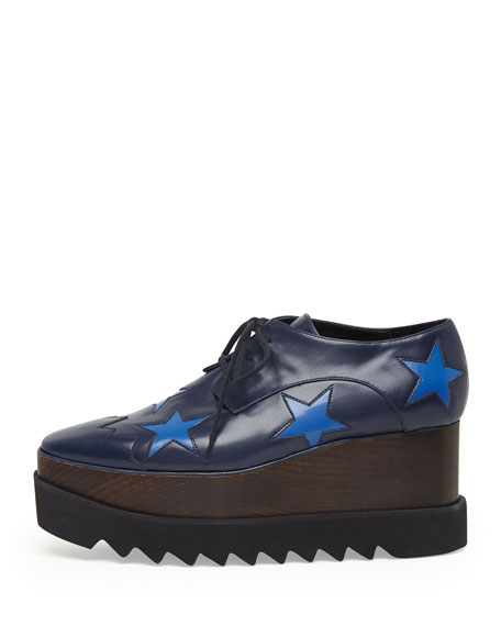 Faux-Leather Star Platform Oxford, Navy/Bluebird