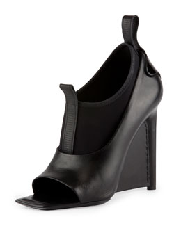 Balenciaga Neoprene and Leather Wedge Sandal, Noir