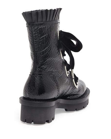 d3d0c330b60 Patent Leather Lace-Up Combat Boot Black
