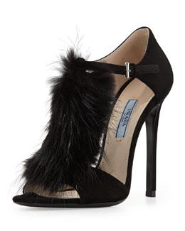 Prada Suede T-Strap Fur Sandal, Nero