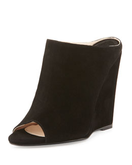 Prada Suede Peep-Toe Wedge Slide