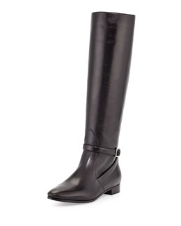 Prada Flat Ankle-Strap Knee Boot
