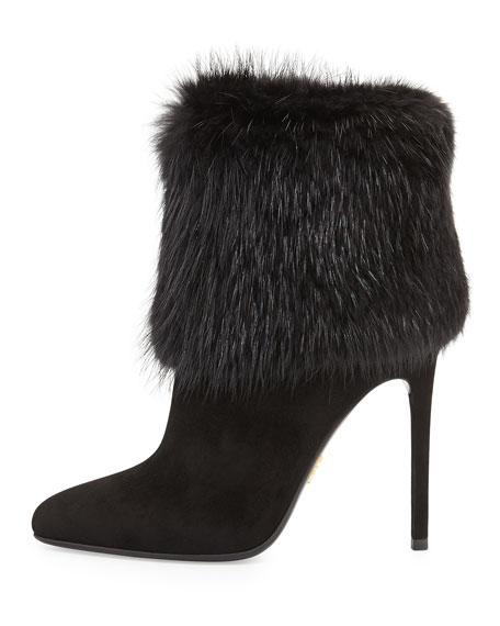 Fur Trimmed Ankle Boot, Black (Nero)