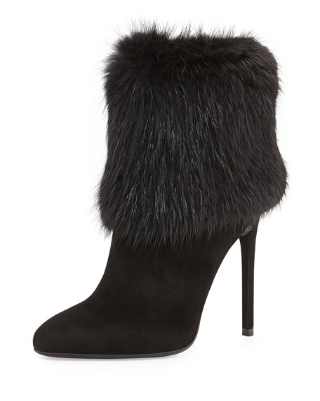 Fur Trimmed Ankle Boot, Black (Nero)