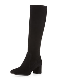 Prada Low-Heel Stretch Suede Knee Boot, Nero