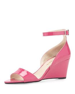 Prada Patent Demi-Wedge Sandal, Peonia