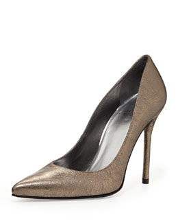 Stuart Weitzman Nouveau Metallic Pointed-Toe Pump, Pewter
