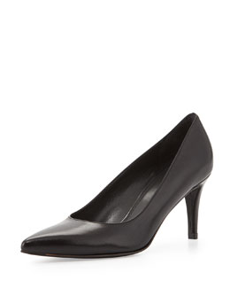 Stuart Weitzman Pinot Leather Pointed-Toe Pump, Black