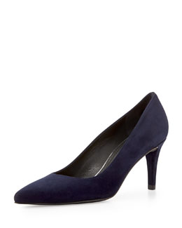 Stuart Weitzman Pinot Suede Pointed-Toe Pump, Nice Blue