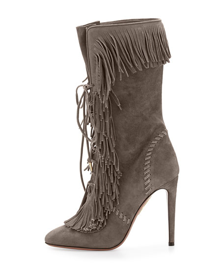 Carly Suede Fringe Mid-Calf Boot, Smoke
