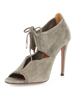Aquazzura Lace Me Up Suede Bootie, Gray