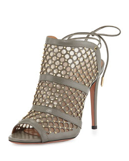Aquazzura Blondie Honeycomb Tie-Back Sandal