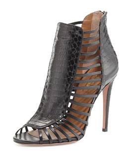 Aquazzura Follow Me Snakeskin Cage Bootie, Black