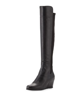 Stuart Weitzman Semi Napa Stretch-Back Wedge Over-Knee Boot, Black