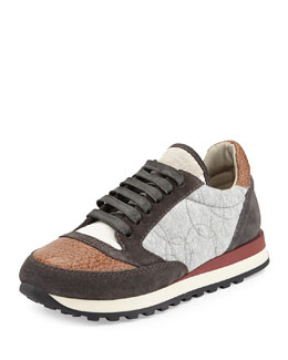 Brunello Cucinelli Pebbled Leather Cap-Toe Combo Sneaker, Biscotti