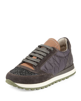 Brunello Cucinelli Glitter Cap-Toe Leather Combo Sneaker, Twilight