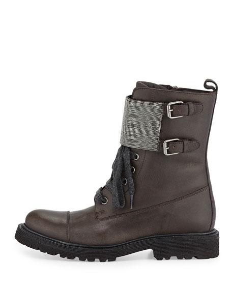 Lace-Up Monili Combat Boot, Graphite