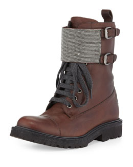 Brunello Cucinelli Lace-Up Monili Combat Boot, Espresso