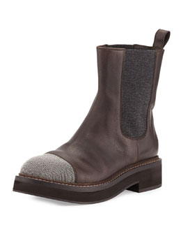 Brunello Cucinelli Monili-Toe Stretch-Inset Ankle Boot