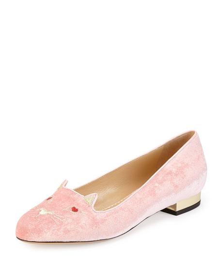 Lovestruck Kitty Velvet Slipper, Pink