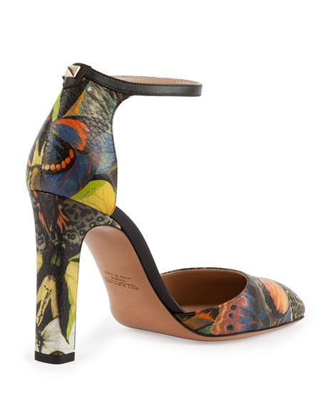 Butterfly-Print Ankle-Strap d'Orsay Pump