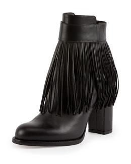 Valentino Fringe Leather Ankle Boot, Nero