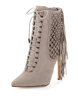 Alexandre Birman Suede Fringe Lace-Up Point-Toe Ankle Bootie, Gray