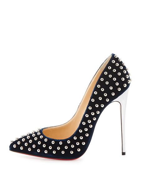 Billy Studded Velvet Red-Sole Pump