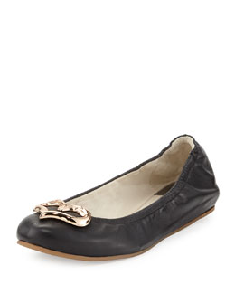 Sophia Webster Miami Flamingo Heart Ballerina Flat, Black
