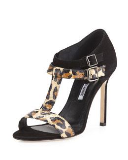 Manolo Blahnik Amazca T-Strap Suede & Snake Sandal